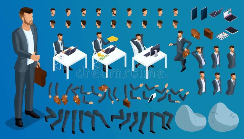 Isometriska gester av händer och fot av män, affärsman för tecken 3D Skapa din egen isometriska person som går omkring eller sitt vektor illustrationer