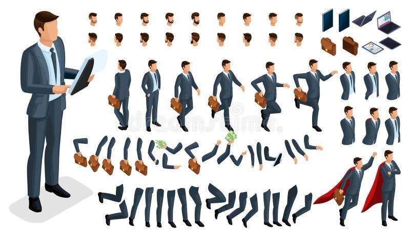 Isometriska gester av händer och fot av teckenaffärsmannen för män 3D Skapa din egen isometriska kontorsarbetare går omkring elle vektor illustrationer