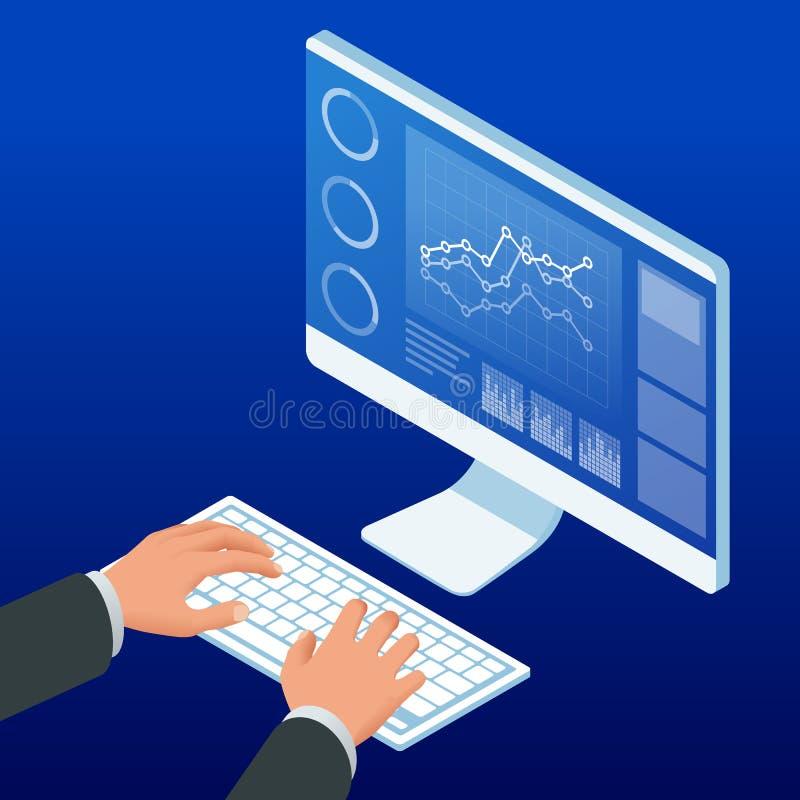 Isometriska händer på tangentbord- och datorbildskärmen Schema för affärsmanarbetsdiagram som planerar finansiella rapportdata stock illustrationer