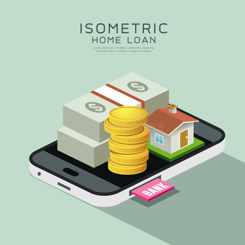 Isometriska hem och pengar för vektor på mobiltelefonen royaltyfri illustrationer