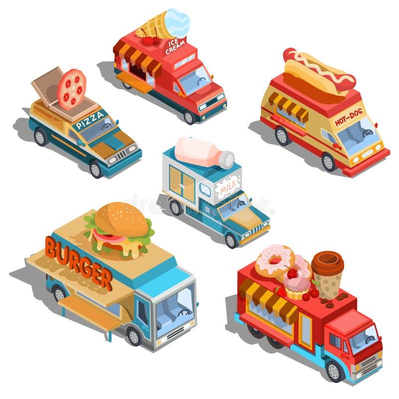 Isometriska illustrationer av bilar fastar leveransen av mat, och mat åker lastbil royaltyfri illustrationer