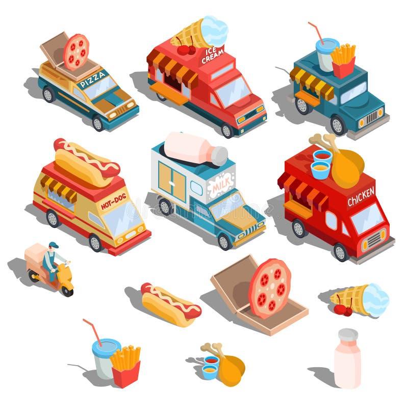 Isometriska illustrationer av bilar fastar leveransen av mat, och mat åker lastbil - pizza, glass, varmkorvar, mjölkar vektor illustrationer