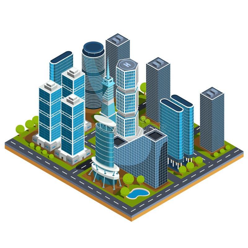 isometriska illustrationer 3D av den moderna stads- fjärdedelen med skyskrapor, kontor, bostads- byggnader vektor illustrationer