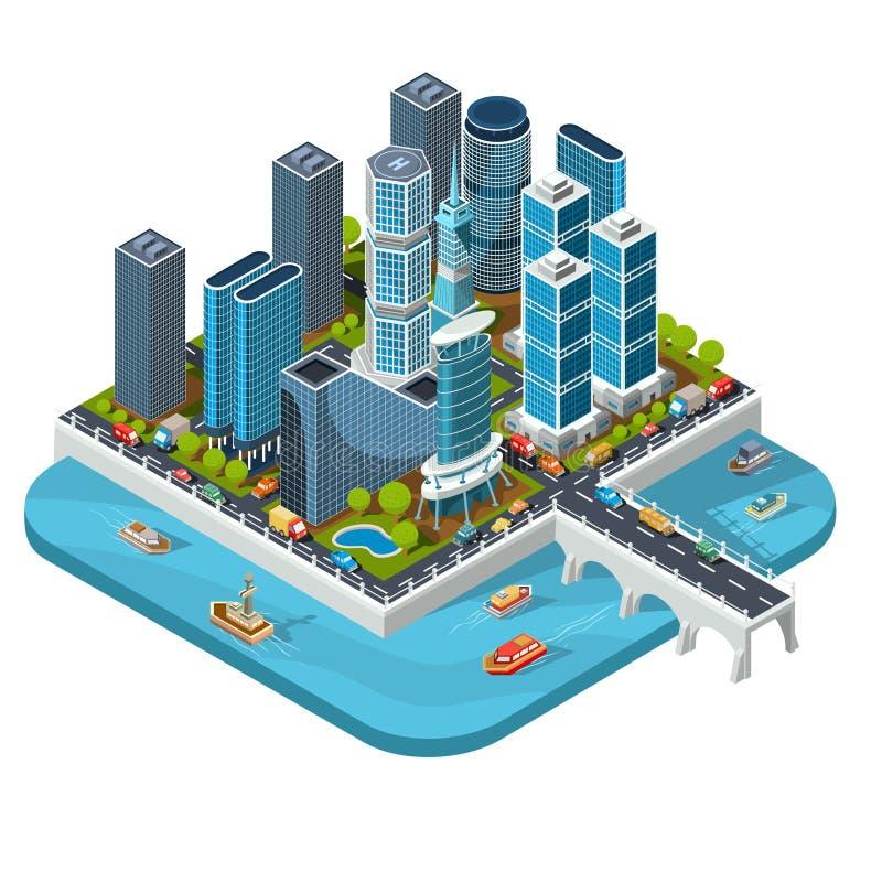 isometriska illustrationer 3D av den moderna stads- fjärdedelen med skyskrapor, kontor, bostads- byggnader, transport royaltyfri illustrationer