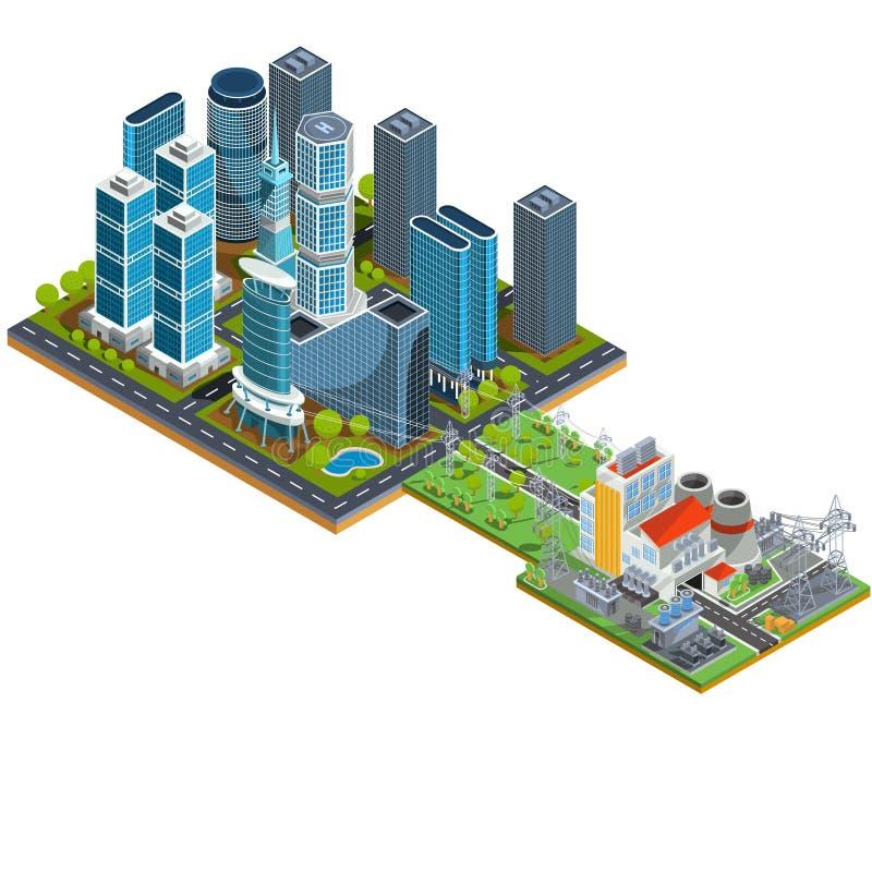 Isometriska illustrationer 3D för vektor av den moderna stads- fjärdedelen med skyskrapor och en närliggande kraftverk vektor illustrationer