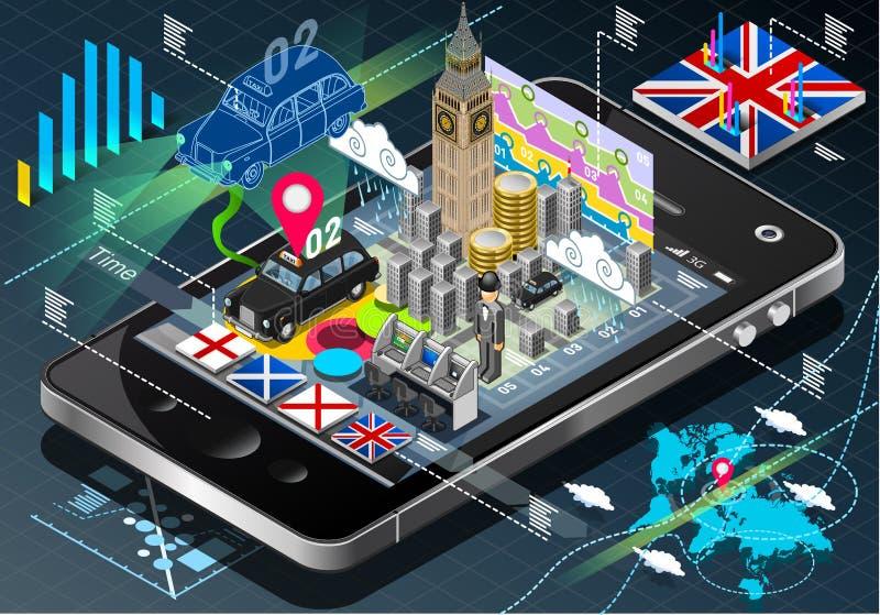 Isometriska Infographic av Storbritannien på mobiltelefonen royaltyfri illustrationer