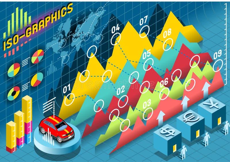 Isometriska Infographic fastställda beståndsdelar med stordian stock illustrationer