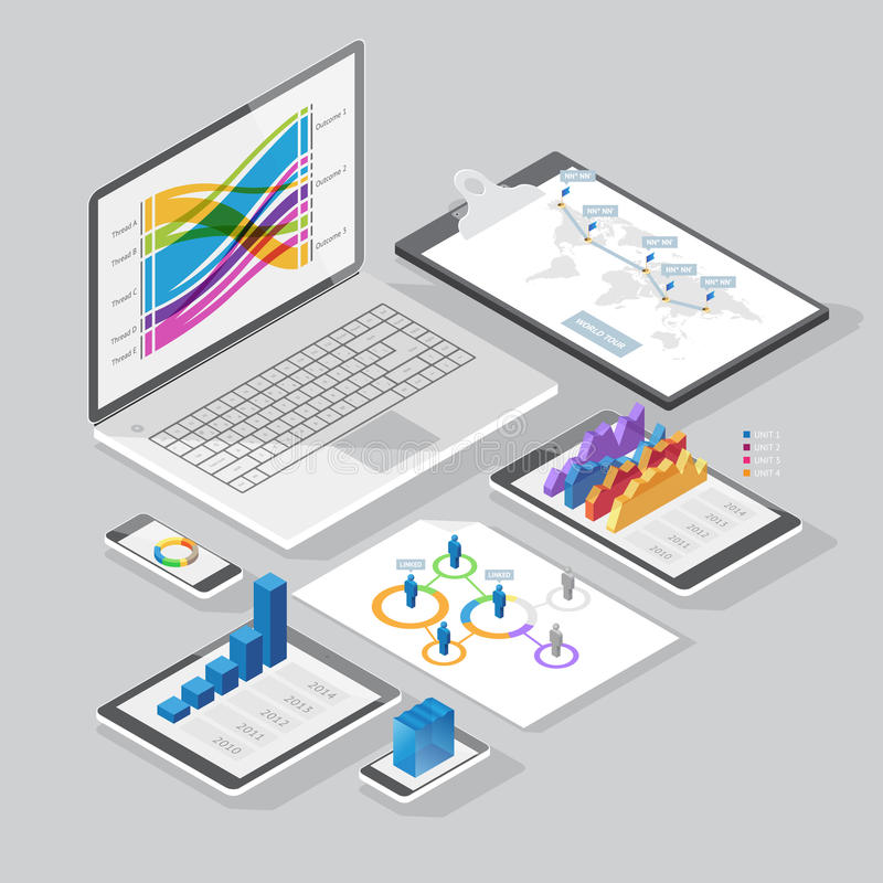 Isometriska infographicsdesignbeståndsdelar vektor illustrationer