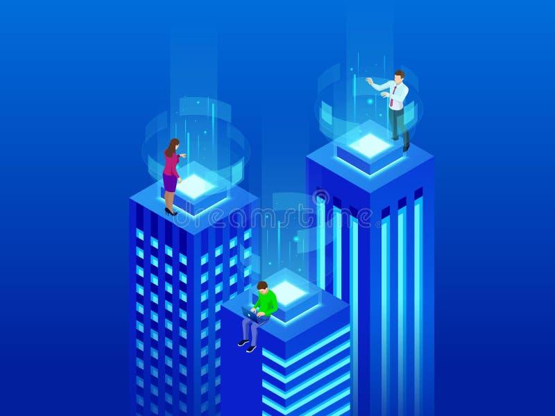 Isometriska intelligenta byggnader Smart stadsbegrepp Affärsmitten med skyskrapor förband till datornätet royaltyfri illustrationer