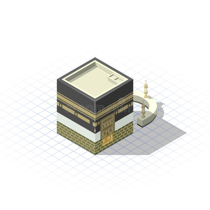 Isometriska Kaaba den muslimska sakrala moskén i den heliga staden av Mecka vektor illustrationer