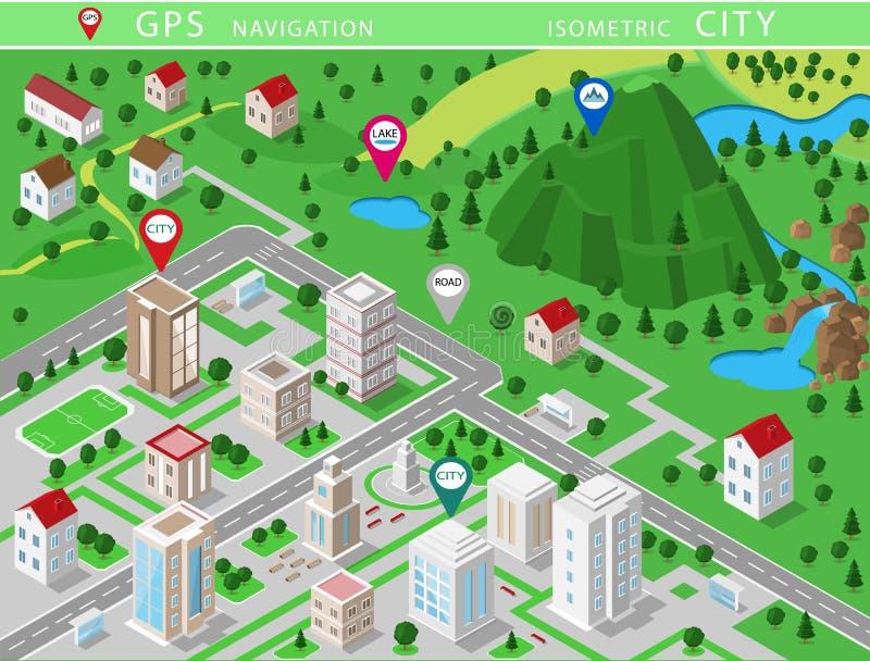 Isometriska landskap med stadsbyggnader, byn, vägar, parkerar, slättar, kullar, berg, sjöar, floder och vattenfallet Uppsättning  royaltyfri illustrationer