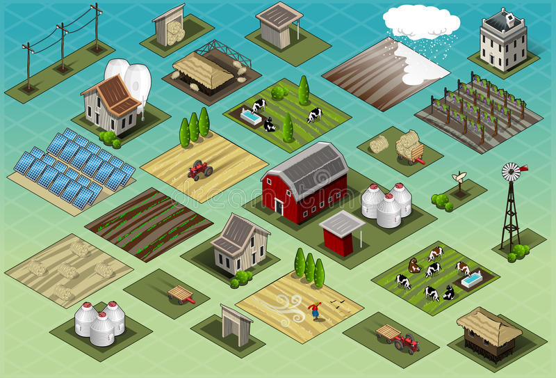 Isometriska lantgårduppsättningtegelplattor stock illustrationer