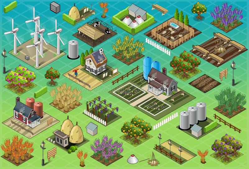 Isometriska lantgårduppsättningtegelplattor vektor illustrationer