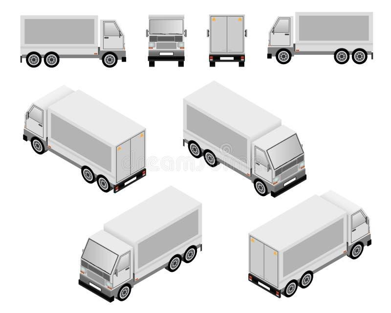Isometriska lastbilar vektor illustrationer