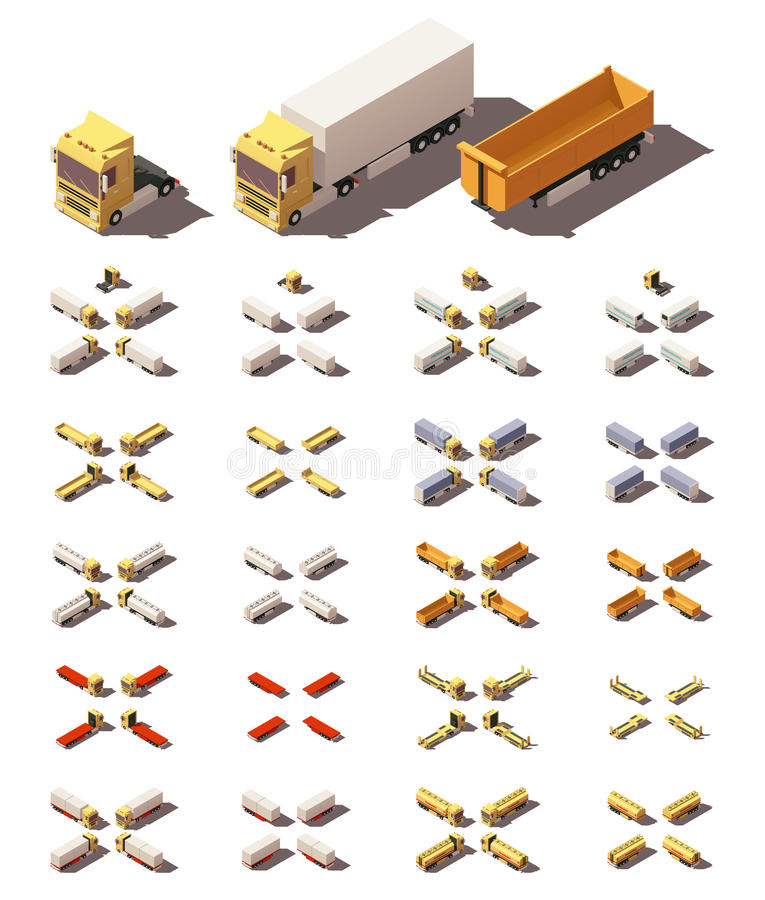 Isometriska lastbilar för vektor med densläp symbolsuppsättningen stock illustrationer