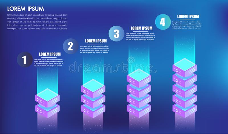 Isometriska leves eller moment för alternativ för infographicsdesign 4 för askar för affärsidéframgång 3d, kan användas för prese stock illustrationer