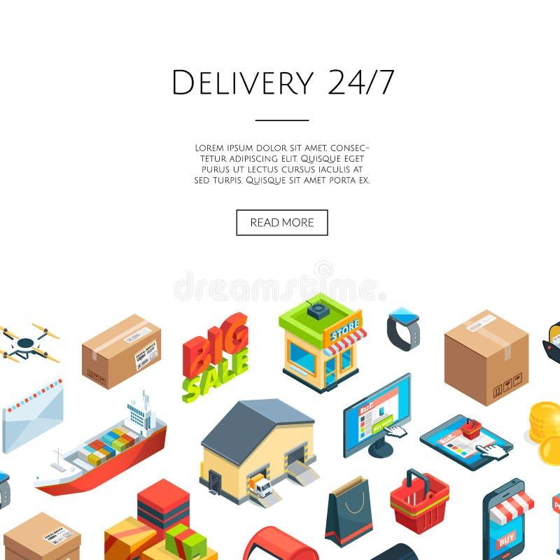 Isometriska logistik för vektor och leveranssymboler kommersbegrepp för internet 3D stock illustrationer