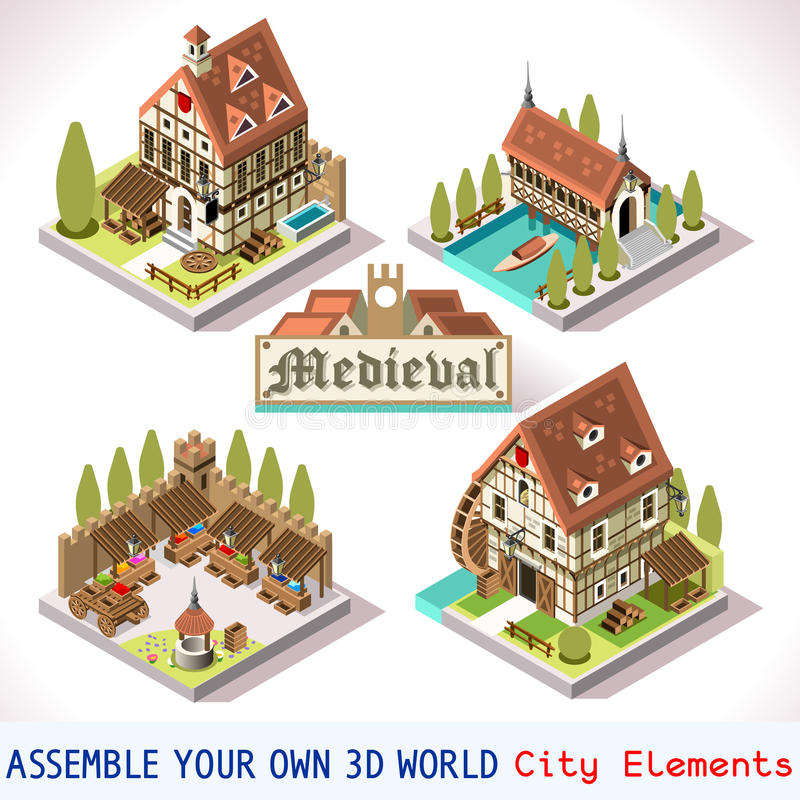 Isometriska medeltida 03 tegelplattor royaltyfri illustrationer