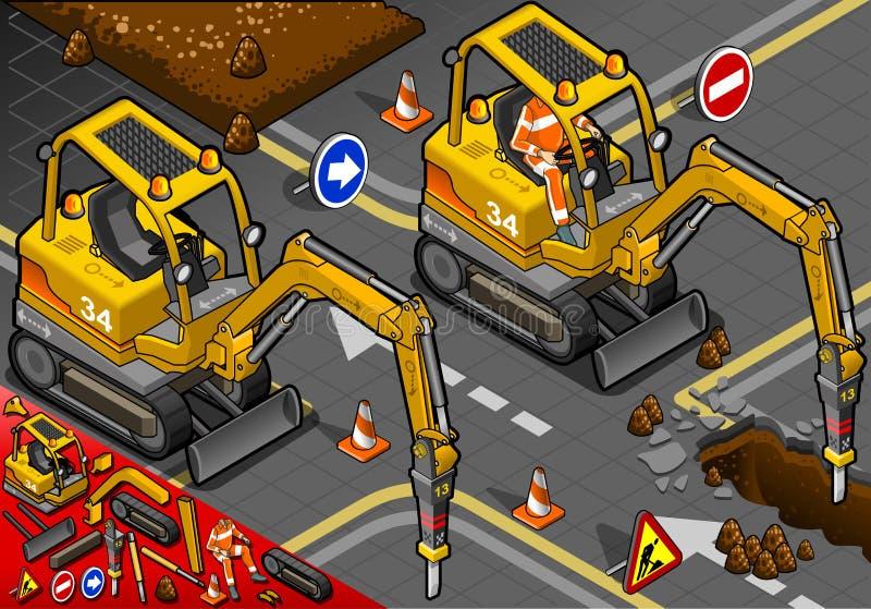 Isometriska Mini Chisel Excavator i Front View royaltyfri illustrationer