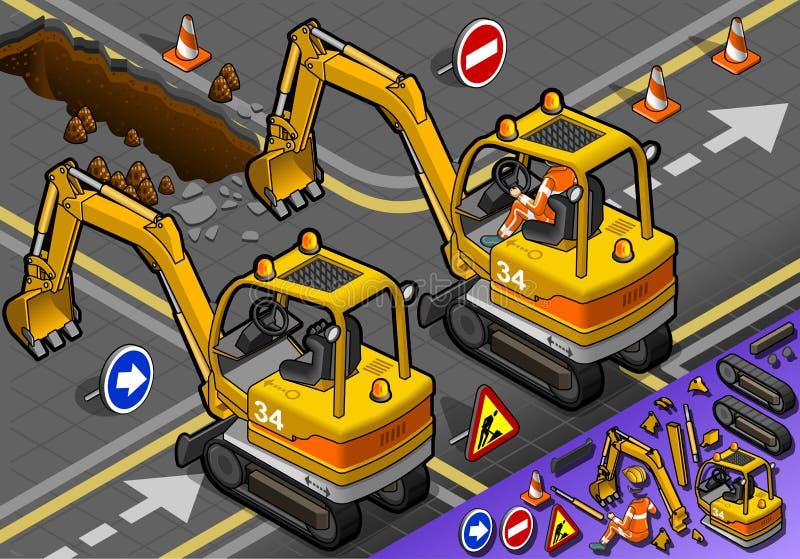 Isometriska Mini Excavator med mannen på arbete i bakre sikt stock illustrationer
