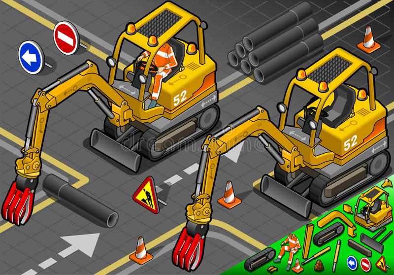 Isometriska Mini Mechanical Arm Excavator i Front View royaltyfri illustrationer