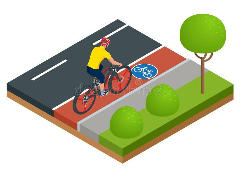 Isometriska moderna elektriska cykelsymboler En man som rider en elektrisk cykel i en stad E-cykel stads- ecotransportdesign royaltyfri illustrationer