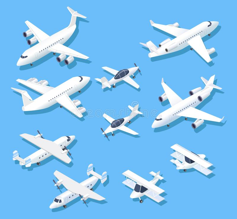 Isometriska nivåer Flygplan, flygplan och trafikflygplan för privat stråle flyg- uppsättning för vektor 3d royaltyfri illustrationer