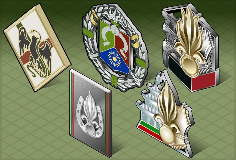 Isometriska olika medaljer royaltyfri illustrationer