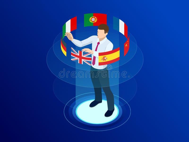 Isometriska online-ordböcker för utländskt språk, flerspråkig ljudsignal handbok, rengöringsduköversättning, online-översättnings vektor illustrationer
