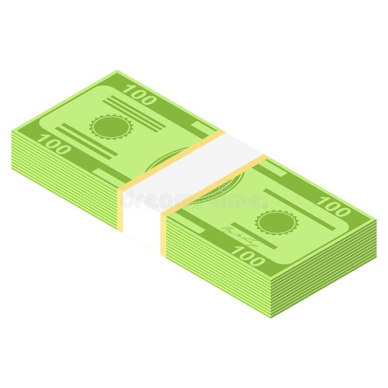 Isometriska pengarsymboler Gr?splan f?r dollarvalutasedel Dollar r?kning, pengarsedel Dollarr?kning som isoleras p? vit bakgrund stock illustrationer