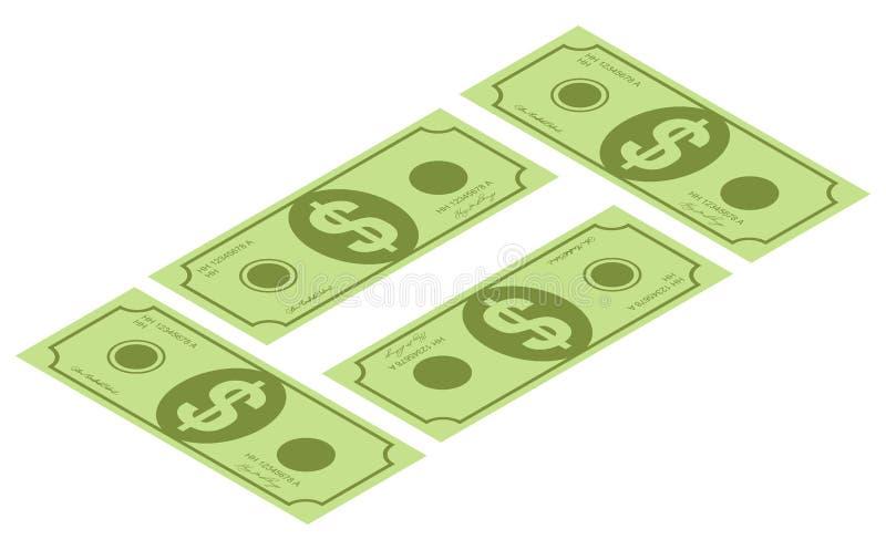 Isometriska pengarsymboler Gr?splan f?r dollarvalutasedel Dollar r?kning, pengarsedel Dollarr?kning som isoleras p? vit bakgrund vektor illustrationer