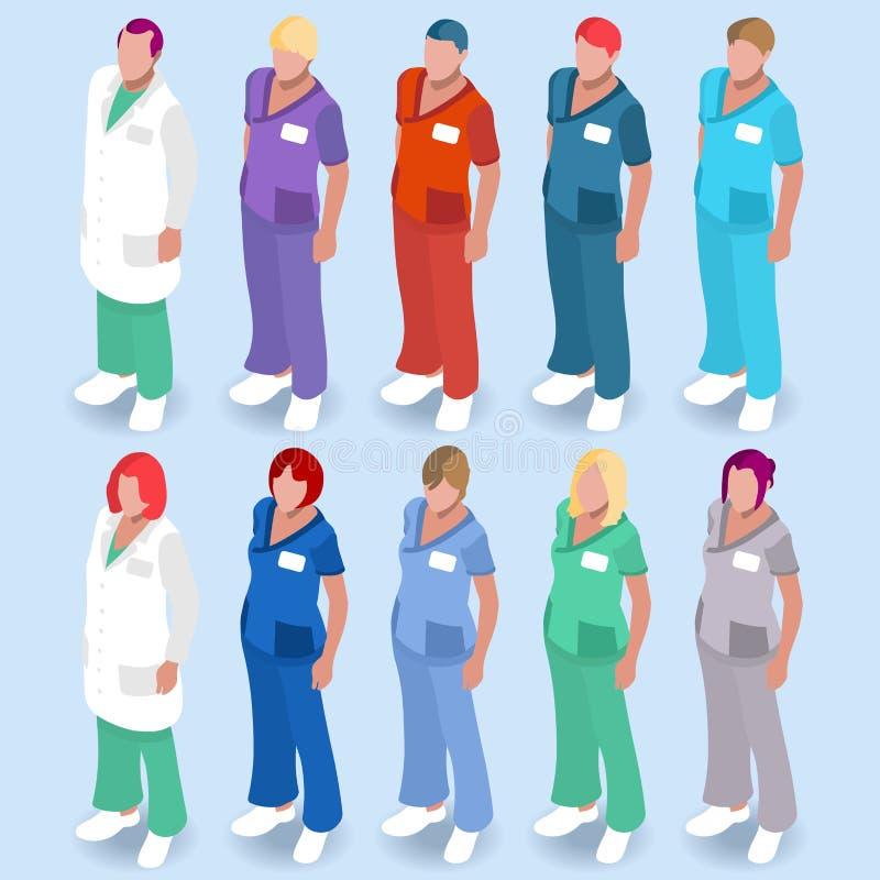 Isometriska personer för sjukhus 14 vektor illustrationer