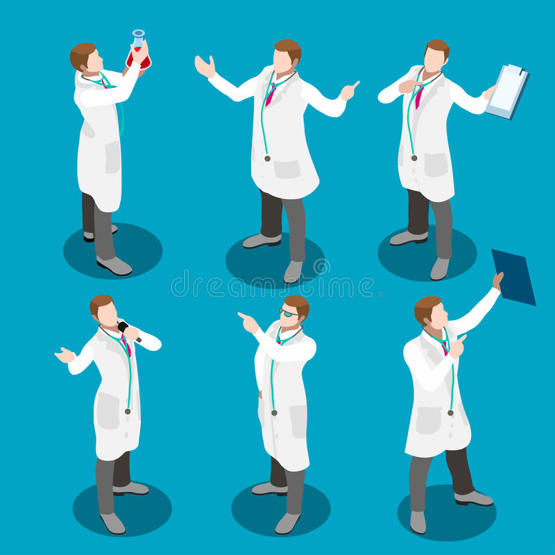 Isometriska personer för sjukhus 17 royaltyfri illustrationer