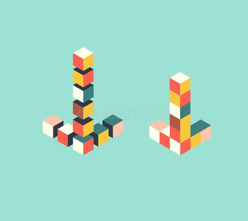 Isometriska pilpekare, leksakpusslet, kuber för markörfläck bildar, vektorillustrationen stock illustrationer