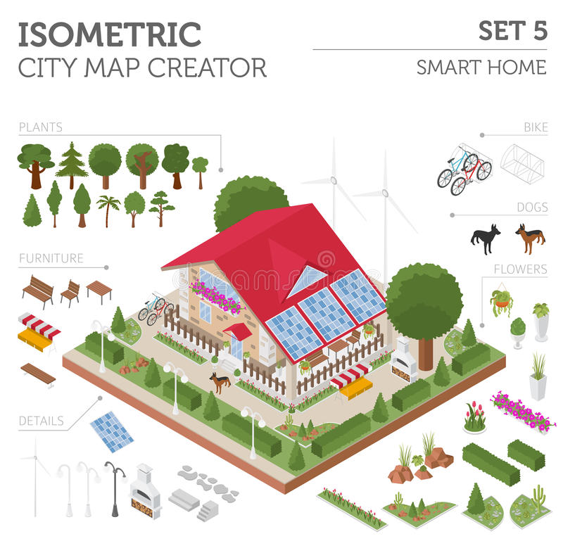 Isometriska plana 3d ilar hem och beståndsdelar s för stadsöversiktskonstruktörn stock illustrationer