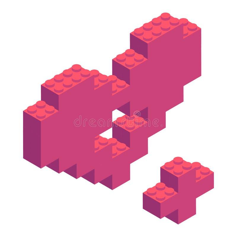 Isometriska plast- byggnadskvarter och tegelplattor royaltyfri illustrationer