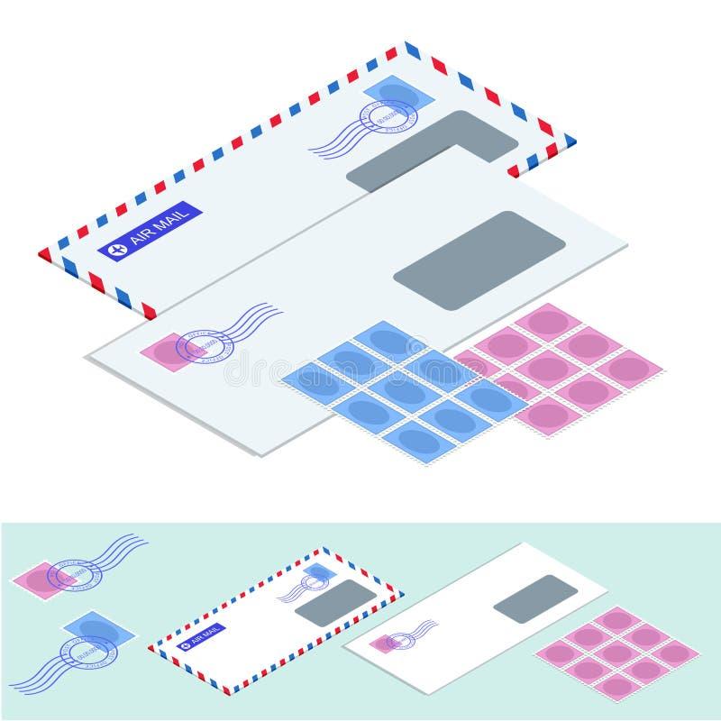 Isometriska post- kuvert Postkuvert, klistermärkear, stämplar och vektor för vykorttappningstil royaltyfri illustrationer