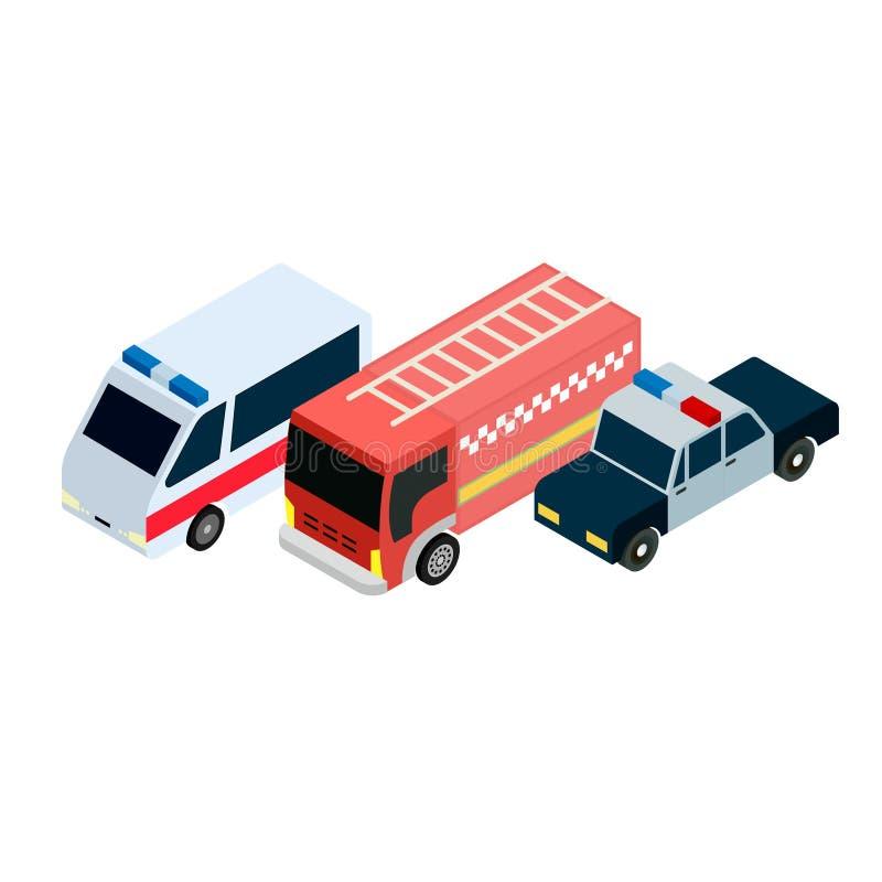 Isometriska räddarebilsymboler stock illustrationer