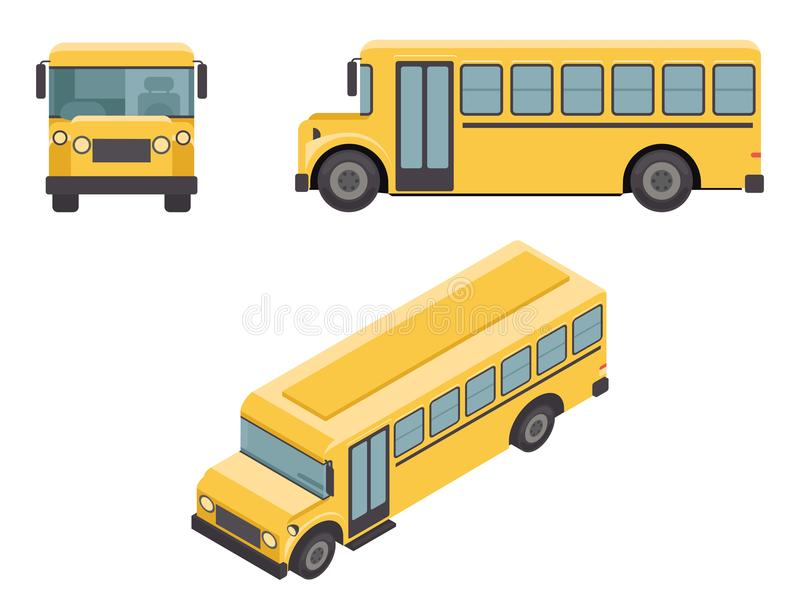 Isometriska Retro plana för den skolaBuss för designen 3d symboler bilen ställde in vektorillustrationen stock illustrationer