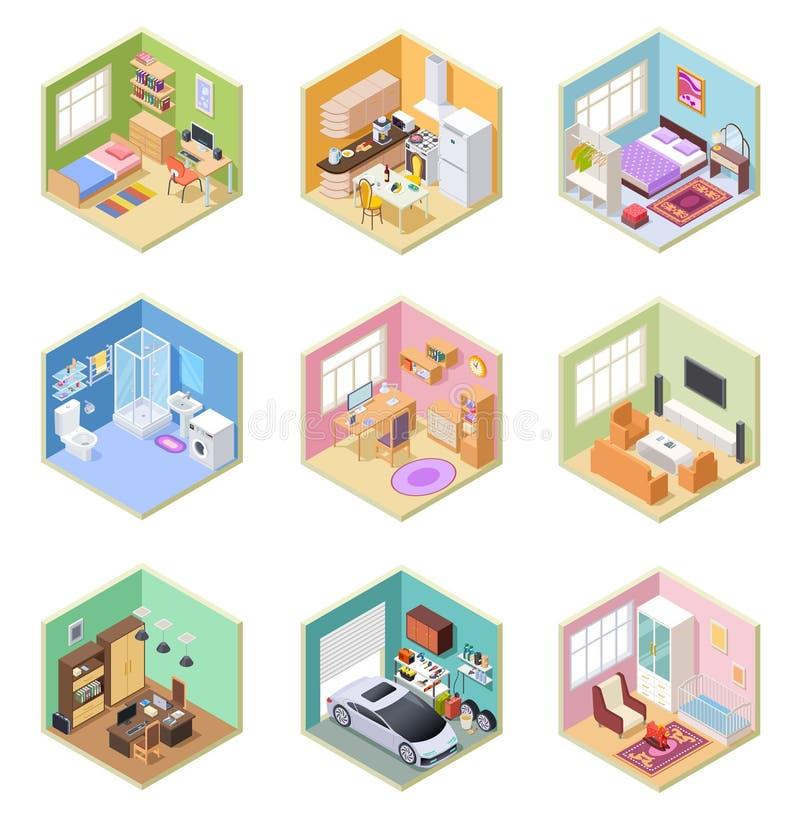 Isometriska rum Planlagt hus, inre för lägenhet för toalett för sovrum för vardagsrumkökbadrum med vektorn för möblemang 3d vektor illustrationer