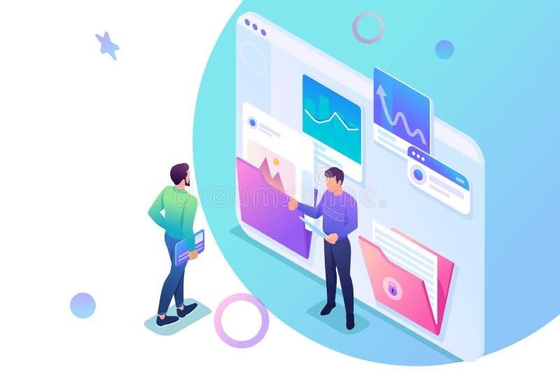 Isometriska samlande och överförande data för rapporten, unga entreprenörer diskuterar datan på skärmen Begrepp f?r reng?ringsduk stock illustrationer