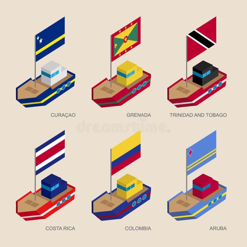 Isometriska skepp med flaggor: Curacao Grenada, Costa Rica, Colomb royaltyfri illustrationer