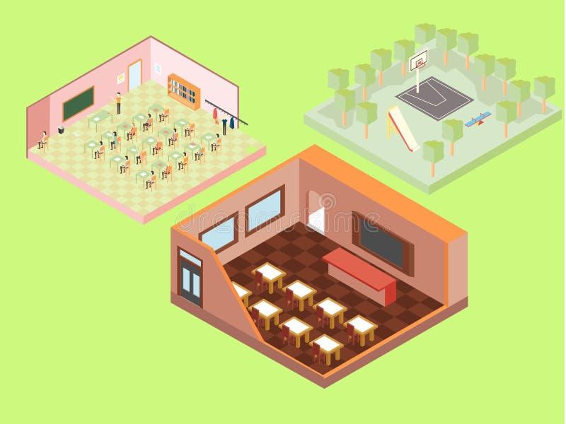 Isometriska skolabyggnader royaltyfri illustrationer