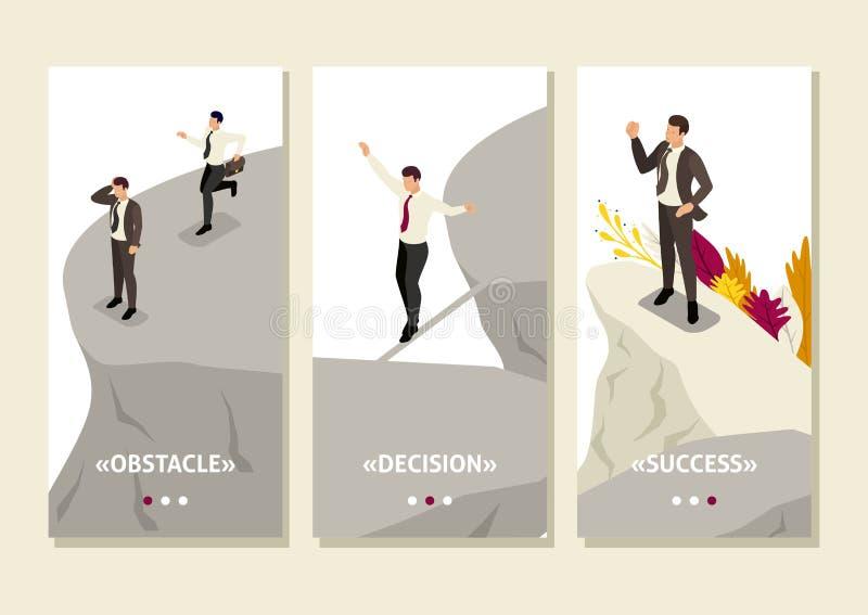 Isometriska skräck- och lösningsrisker i affär stock illustrationer
