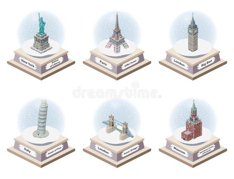 Isometriska snöjordklot för vektor 3d med berömda gränsmärken för värld inom Samling av julillustrationer som isoleras på vit bac stock illustrationer