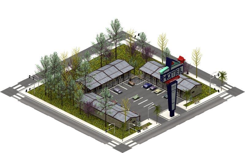 Isometriska stadsbyggnader, drev i motell framförande 3d vektor illustrationer
