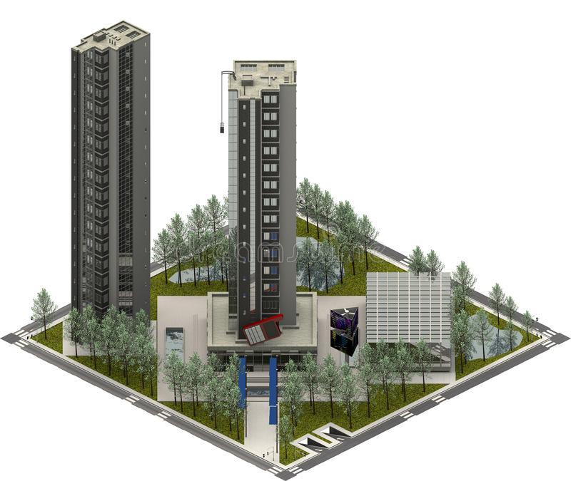 Isometriska stadsbyggnader, modern arkitektur framförande 3d vektor illustrationer