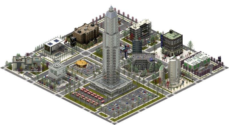 Isometriska stadsbyggnader, modern cityscape framförande 3d vektor illustrationer