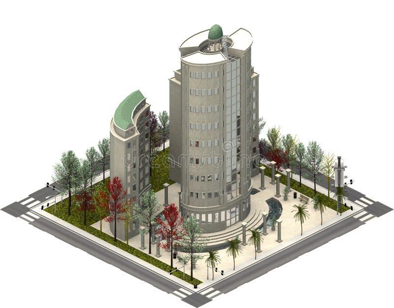 Isometriska stadsbyggnader, modern skyskrapa framförande 3d royaltyfri illustrationer