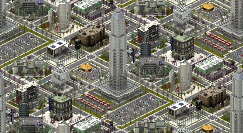 Isometriska stadsbyggnader, modern urbanscape framförande 3d royaltyfri illustrationer